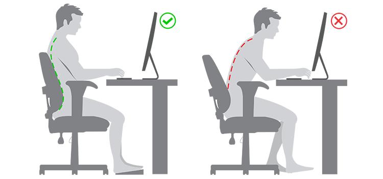 Posturas correctas para trabajar con PC o laptop