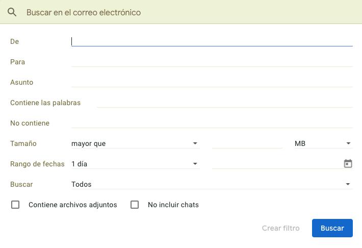 Filtros de Gmail